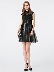 cheap -A-Line High Neck Short / Mini Tulle Cocktail Party Dress with Beading Appliques by TS Couture®