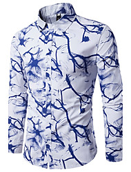 Men's Going out Work Simple Chinoiserie Fall Shirt,Print Shirt Collar Long Sleeves Cotton