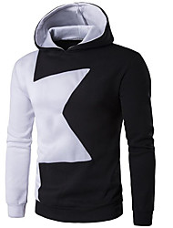 Men's Daily Going out Hoodie Color Block Hooded Micro-elastic Cotton Polyester Long Sleeve Winter Fall