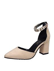 Damen Sandalen Pumps formale Schuhe PU Frühling Sommer Kleid Party & Festivität Schnalle Blockabsatz Schwarz Beige Grau 7,5 - 9,5 cm