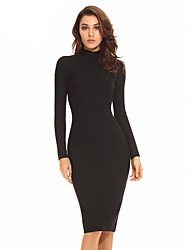 Women's Turtleneck Long Sleeve Bodycon Dress Knee High Middle Dress