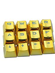 E-ELEMENT Metal Texture Keycap Transparent PBT 12 Keys Plating Keycap Set for Mechanical Keyboard