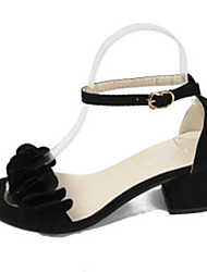 Women's Sandals Comfort Spring Summer PU Dress Party & Evening Buckle Flower Chunky Heel Black Gray Blushing Pink 2in-2 3/4in