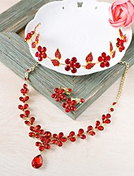 cheap -Women's Jewelry Set - Flower Fashion Include Necklace / Front Back Earrings Red For Wedding