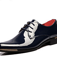 cheap -Men's Shoes Patent Leather Spring Fall Novelty Comfort Oxfords Lace-up for Wedding Office & Career Party & Evening Black Blue
