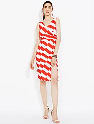Недорогие -2016 лето новые корейские женщины тонкий моды сексуальный V-образным вырезом кружево платье нерегулярные полосы