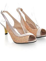 Damen Schuhe PU Sommer Komfort High Heels Stöckelabsatz Peep Toe Für Normal Gold Silber Fuchsia