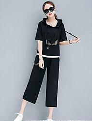 レディース お出かけ カジュアル/普段着 夏 パーカー パンツ スーツ,シンプル ソリッド 半袖