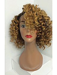 cheap -Human Hair Full Lace / Glueless Full Lace Wig Curly 130% Density Ombre Hair / Natural Hairline / African American Wig Women's Short / Medium Length / Long Human Hair Lace Wig / 100% Hand Tied