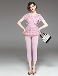 Feminino Blusa Calça Conjuntos Para Noite Casual Simples Moda de Rua Verão Outono,Flor Decote Redondo Manga Curta Micro-Elástica