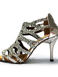 Damen Latin Glitzer Sandalen Aufführung Glitter Stöckelabsatz Gold Schwarz Silber Purpur Rot 7,5 - 9,5 cm Maßfertigung