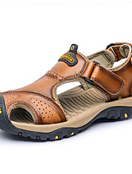 cheap -Men's Sandals Comfort Spring Summer PU Casual Low Heel Yellow Blue Light Brown Dark Brown Khaki Under 1in