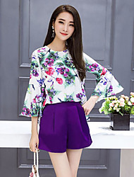 cheap -Women's Daily Casual Summer Blouse Skirt Suits,Floral Round Neck ¾ Sleeve Polyester