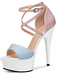 Women's Sandals Formal Shoes Summer PU Party & Evening Dress Crystal Buckle Stiletto Heel Light Yellow Blue 5in & over