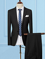 cheap -Men's Cotton Slim Suits - Solid Colored Notch Lapel