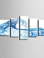 cheap -E-HOME Stretched Canvas Art  Water Beads And Waves Decoration Painting Set Of 5