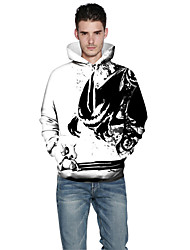 Men Realistic 3d Digital Print Pullover Sports Outdoor Active Hoodie Hooded Baseball Uniform Jacket Inelastic Polyester White