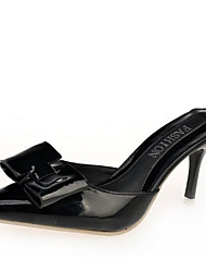 Women's Shoes Leather PU Fall Winter Basic Pump Heels For Casual White Black Silver Fuchsia