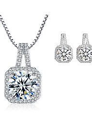 Women's Stud Earrings Necklace Jewelry Set Fashion Luxury Cubic Zirconia Alloy Square Geometric For Wedding Gifts