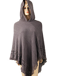 Women Vintage Hooded Cloak Wool Cotton Acrylic Rectangle Solid Spring Fall Cape  Fringed Plaid Shawl Wrap Scarf Red/Black/Grey/Khaki/Pink