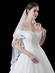 cheap -One-tier Lace Applique Edge Wedding Veil Blusher Veils With Applique Embroidery Lace Tulle