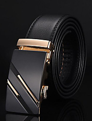 cheap -Men's Genuine leather Alloy Waist Belt,Gold Silver Vintage Work Casual Solid