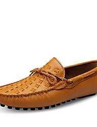 preiswerte -Herrn Schuhe Leder Sommer / Herbst Komfort Loafers & Slip-Ons Walking Schwarz / Gelb / Dunkel Braun