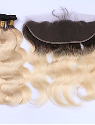 cheap -3 Bundles with Closure Brazilian Hair Body Wave Virgin Human Hair Hair Weft with Closure 12-22 inch Human Hair Weaves Lace Front 8a Human Hair Extensions