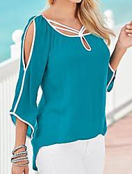 Damen Solide Einfach Lässig/Alltäglich T-shirt,Rundhalsausschnitt 3/4 Ärmel Polyester