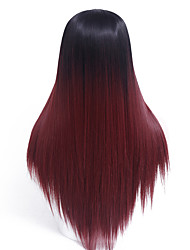 cheap -Ombre Wine Red Straight Female Wig Capless Synthetic Wigs Long Straight Hair Heat Resistant Synthetic Wigs