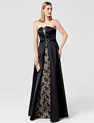 cheap -A-Line Strapless Floor Length Lace Satin Formal Evening Dress with Sash / Ribbon by TS Couture®