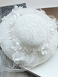 cheap -Tulle Imitation Pearl Lace Feather Fabric Silk Net Fascinators Hats 1 Wedding Special Occasion Birthday Party / Evening Headpiece