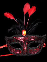 1pc petite bande de cheveux pour la fête des costumes d'Halloween, le masque en argent plâtre en argent massif masque de peinture en plume