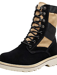 cheap -Men's Boots Riding Boots Fashion Boots Combat Boots Fall Winter Real Leather Linen Cowhide Casual Outdoor Rivet Lace-up Platform Black