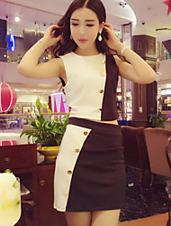 cheap -Women's Going out Club Casual Spring Fall Tank Top Skirt Suits,Solid Color Block Round Neck Sleeveless Cotton