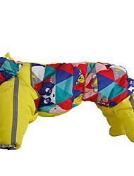 preiswerte -Hund Mäntel Overall Hundekleidung Warm Lässig/Alltäglich Geometrisch Purpur Gelb Blau Kostüm Für Haustiere