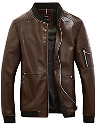 Men's Plus Size Personality Slim Pocket Zipper Design Motorcycle Leather Jacket