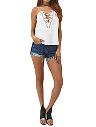 cheap -Women's Going out Club Casual Sexy Tank Top,Solid V Neck Sleeveless Polyester