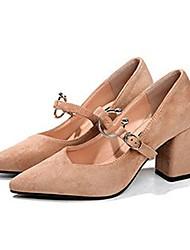 Недорогие -Для женщин Обувь на каблуках Удобная обувь Лето Полиуретан Повседневные Для праздника Пряжки Блочная пятка Черный Верблюжий 4,5 - 7 см