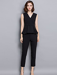 cheap -Women's Daily Casual Summer T-shirt Pant Suits,Solid V Neck Sleeveless Polyester