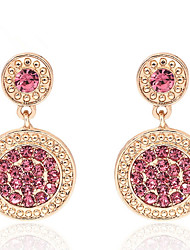 cheap -Drop Earrings Women's Fashion Round Style Pink Rhinestone Earrings For  Graduation Charm Daily Movie Jewelry