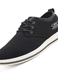 Men's Sneakers Comfort Light Soles Fabric Fall Winter Casual Lace-up Low Heel Dark Blue Black Under 1in