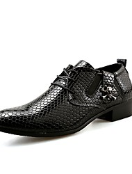 cheap -Men's Oxfords Formal Shoes Spring Fall Synthetic Microfiber PU Wedding Casual Party & Evening Office & Career Lace-up Low Heel Black Blue