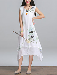 Women's Beach Holiday Going out Casual/Daily Club Sexy Vintage Boho Sheath Dress,Floral Halter Maxi Sleeveless Polyester Summer High Rise