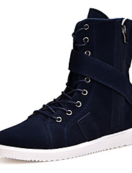 Men's Boots Fashion Boots Combat Boots Fall Winter Nappa Leather Casual Outdoor Office & Career Black Dark Blue Khaki Flat