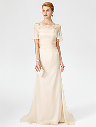 Sheath / Column Off-the-shoulder Sweep / Brush Train Chiffon Lace Mother of the Bride Dress with Pleats by LAN TING BRIDE®