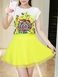 preiswerte -Damen Retro Bluse - Solide Blumen, Gitter Rock