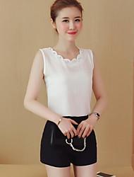 cheap -Women's Daily Sexy Tank Top,Solid Deep U Sleeveless Cotton