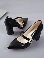Damen High Heels Pumps Sommer PU Kleid Schnalle Blockabsatz Schwarz Beige 7,5 - 9,5 cm