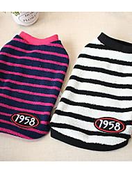 preiswerte -Hund Pullover Hundekleidung Lässig/Alltäglich Streifen Fuchsia Weiß/Schwarz Kostüm Für Haustiere